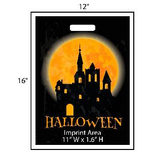 Full Moon Haunted House Trick or Treat Bag - Exclusive Design - Give your business a jump on the Halloween festivities this year with these exclusively designed goodie bags from Perfect Imprints.