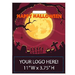 Happy Halloween Graveyard Trick or Treat Bag - Exclusive Design - Happy Halloween graveyard scene stock design on these trick or treat bags with your custom imprint printed below the stock design.