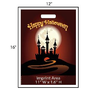 "Happy Halloween Haunted House Trick or Treat Bag - Exclusive Design - Give your business a jump on the Halloween festivities this year with these exclusively designed goodie bags from Perfect Imprints. Bag features a scary haunted house and says ""Happy Halloween"" on the bag as well. Your logo is printed at the bottom of the bags in full color!"