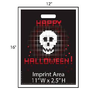 "Happy Halloween Pixels Trick or Treat Bag - Exclusive Design - These awesome Halloween goodie bags feature a skull and the words ""Happy Halloween"" which are all made up of large sized pixels. Additionally, your logo is printed at the bottom of the bags in full color!"