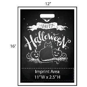 "Retro Chalkboard Trick or Treat Bag - Exclusive Design - These Halloween treat bags feature a retro chalkboard look with a black cat and pumpkins sketched on. Additionally, there is a great big ""Happy Halloween"" at the top of the design. Your logo is printed at the bottom of the bags in full color!"