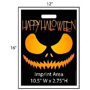 "Happy Halloween Scary Jack-O-Lantern Trick or Treat Bag - Exclusive Design - Get your Halloween going with these exclusively designed goodie bags from Perfect Imprints. Bag features a scary jack-o-lantern face and reads ""Happy Halloween""! Your logo is printed at the bottom of the bags in full color!"