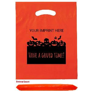"Have A Gourd Time Fall Festival Bags - These orange candy bags are great for Fall Festivals. The design includes jack-o-lanterns and says, ""HAVE A GOURD TIME!"" Your logo and/or custom text is printed at the top of the design in BLACK ink."