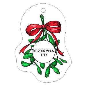 Acrylic Mistletoe Full-Color Ornaments - 50 Minimum - Acrylic Mistletoe ornaments with your full-color printed logo.