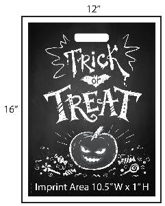 Retro Trick or Treat Bag - Exclusive Design - Get your Halloween going with these exclusively designed goodie bags from Perfect Imprints. Bag features a retro chalkboard halloween design everyone will love! Your logo is printed at the bottom of the bags in full color!