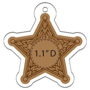 5 Point Acrylic Sheriff's Star Full-Color Ornaments - 50 Minimum - Custom Acrylic 5 Point Sheriff's Christmas ornaments with your full-color printed logo.