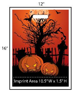 Scary Cemetery Trick or Treat Bag - Exclusive Design - Creepy Jack-O-Lanterns in front of a cemetery is a exclusive design brought to you by Perfect Imprints. Your logo is printed at the bottom of the bags in full color! Other customization are available.