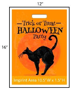 "Halloween Party Black Cat Trick or Treat Bag - Exclusive Design - Give your business a jump on the Halloween festivities this year with these exclusivly designed goodie bags from Perfect Imprints. Bag features a black cat and says ""Trick or Treat Halloween Party"" as well. Your logo is printed at the bottom of the bags in full color! Other customization are available. This exclusive design is available only from Perfect Imprints. This Halloween let us handle the hard work. Get your customized trick-or-treat / goodie bags from Perfect Imprints!"