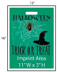 "Spider Web Trick or Treat Bag - Exclusive Design - Get your Halloween going with these exclusively designed goodie bags from Perfect Imprints. Bag features a scary jack-o-lantern face and reads ""Happy Halloween""! Your logo is printed at the bottom of the bags in full color!"