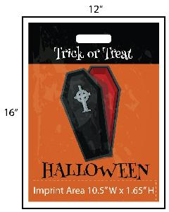 "Vampire Coffin Trick or Treat Bag - Exclusive Design - These treat bags have a spooky vampire coffin and read ""Trick Or Treat"" at the top! Our exclusive design is perfect for trick-or-treat bags or Halloween party goodie bags. These bags measure 12"" W x 16"" H making them perfect for trick-or-treating."