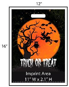 Trick or Treat Witch, Owl & Bats - Exclusive Design - Get your Halloween going with these exclusively designed goodie bags from Perfect Imprints. Bag shows a scene with a creepy witch and her pet bats flying through the night sky and passing an owl sitting in a tree! Your logo is printed at the bottom of the bags in full color!