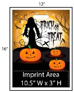 Creepy Witch Trick or Treat Bags - Exclusive Design - Get your Halloween going with these exclusively designed goodie bags from Perfect Imprints. Bag shows a silhouette of a creepy Halloween witch! Your logo is printed at the bottom of the bags in full color. Other customization options are available. This exclusive design is available only from Perfect Imprints. This Halloween let us handle the hard work. Get your customized trick-or-treat / goodie bags from Perfect Imprints!