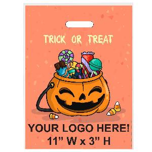 Trick or Treat Candy Jack-O-Lantern Dish Halloween Bag - Exclusive Design - Trick or Treat Candy Jack-O-Lantern stock design on these trick or treat bags with your custom imprint printed below the stock design.