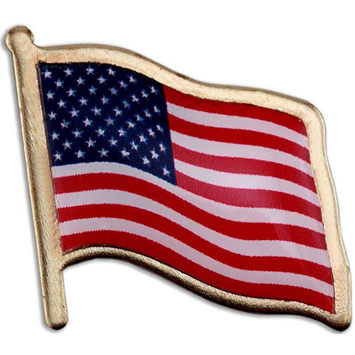 American Flag Lapel Pin - Made in USA - Made in USA! Stock shape die struck US flag lapel pin with three color printed imprint and an epoxy dome over imprint. Polished gold finish. Butterfly clutch. In stock for fast delivery. No die or setup charges.