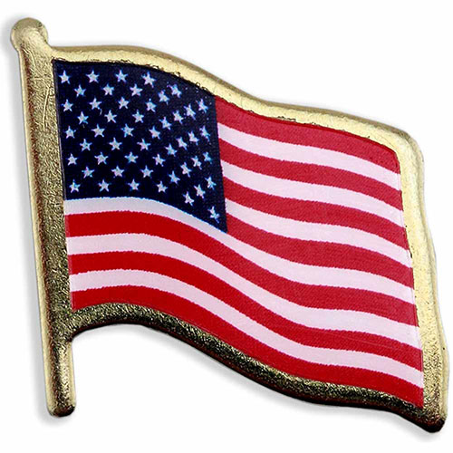 American Flag Lapel Pins - Print w/ Lamination - Made in USA! Stock shape die struck US flag lapel pin with three color printed imprint and clear lamination over imprint. Polished gold finish. Butterfly clutch. In stock for fast delivery. No die or setup charges.