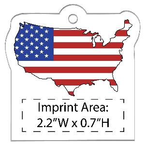 Acrylic USA-Shaped Flag Full-Color Ornaments - 50 Minimum - Custom USA-Shaped Flag Christmas ornaments with your full-color printed logo.