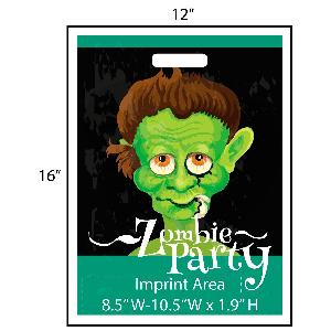 Zombie Party Trick or Treat Bag - Exclusive Design - Get your Halloween going with these exclusively designed goodie bags from Perfect Imprints. Bag features a dead-eyed zombie that is fun and creepy! Your logo is printed at the bottom of the bags in full color!