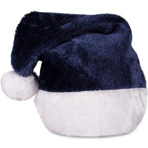 Blank Navy Blue Plush Santa Hats - Promote your blue Christmas theme with these blue plush Santa hats.