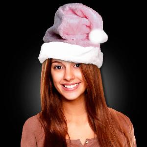 Embroidered Pink Plush Santa Hats - These plush pink Santa hats are custom embroidered with your logo and are perfect for breast cancer awareness events in December.