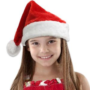 Blank Red Plush Children's Santa Hats