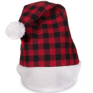 Blank Red Plaid Plush Santa Hats