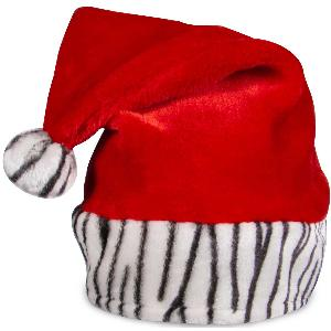 Embroidered Zebra Print Santa Hats