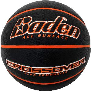 "Black/Orange Junior Size Crossover Composite Basketball - The Black/Orange Crossover junior size basketball is the official size 5 - (27.5"" circumference) for most boys and girls leagues - ages 9-11 years old and is pad printed with your custom logo."