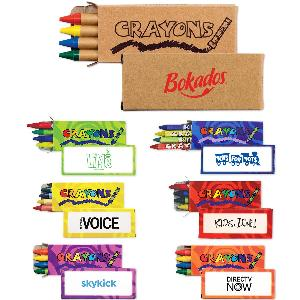Custom 4-Pack of Crayons - Add more color to your next promotional campaign with these classic, best-selling 4-pack of wax crayons. Each box of crayons includes a red, green, blue and yellow crayon stick. The boxes are printed with your custom logo.