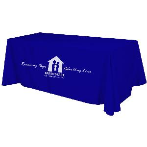 6 Foot Full Color Table Cover Throw - Order as few as one full color printed 6-foot table cover with your logo. Discounts for multiple quantities. Fast production time.