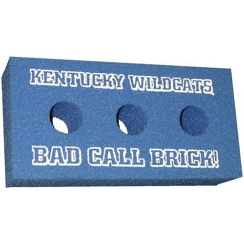 Foam Brick - 3 Holes - These promotional foam bricks have 3 holes for a realistic look. Your custom imprint is printed above and below the holes. Only 100 piece minimum order. Great for sports rivalry games.