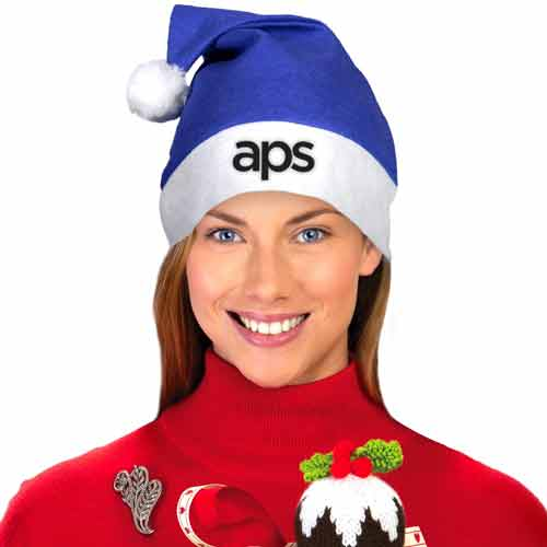 Printed Blue Felt Santa Hats - These felt Santa hats may be blue but that doesn't mean you have to have a blue Christmas because these fun holiday hats will liven up any party.These custom printed hats are printed with your custom logo on the white band or the blue top.