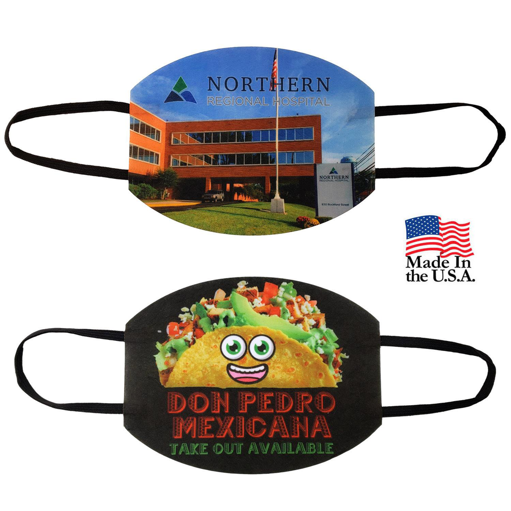 Full Color Economy Fabric Face Masks - These cloth face masks are manufactured in the USA and printed quickly with your full-color design.