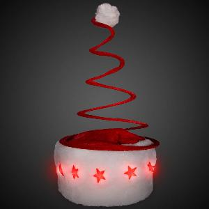 Blank Light-Up Spring Tree Santa Hats - Light up your party (literally) with these Light-Up Spring Tree Christmas hats. Each of these unique festive hats has 5 LEDs around the front of the white band that light when you turn them on.
