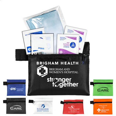 3-Ply Mask and Antiseptic Wipes in Zipper Pouch - These heathly antispectic packs include hand sanitizer and antiseptic cleaning towelettes in a zippered pouch with your custom printed logo.
