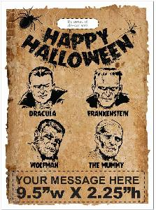 "Vintage Movie Monsters Halloween Bag Exclusive Design - If you are partial to the vintage qualities of Halloween, then this trick or treat bag is for you! These bags feature the movie monster characters Dracula, Frankenstein, Wolfman, and The Mummy with the words, ""Happy Halloween"" printed at the top of the bag. This blast from the past design is sure to be a hit. Exclusive design available only from Perfect Imprints. Choose from either standard plastic material or eco-friendly oxo-biodegradable plastic at no extra charge!"