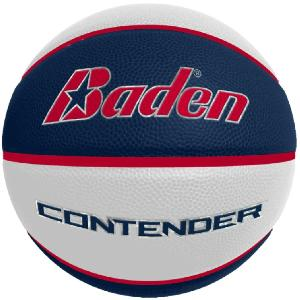 "Navy/White - The Contender Performance Composite Basketball - Intermediate Women's Size - These Navy/White size 6 women's/intermediate Contender basketballs measure 28.5"" circumference (size 6) and are pad printed with your logo."