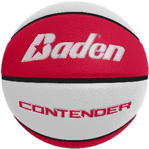Laser Engraved - Red/White Men's Official Size Contender Performance Composite Basketball - The Red and White Contender men's basketball is the official size and weight for the NBA. These are laser engraved with your logo for a permanent decoration (won't rub off like pad printing).