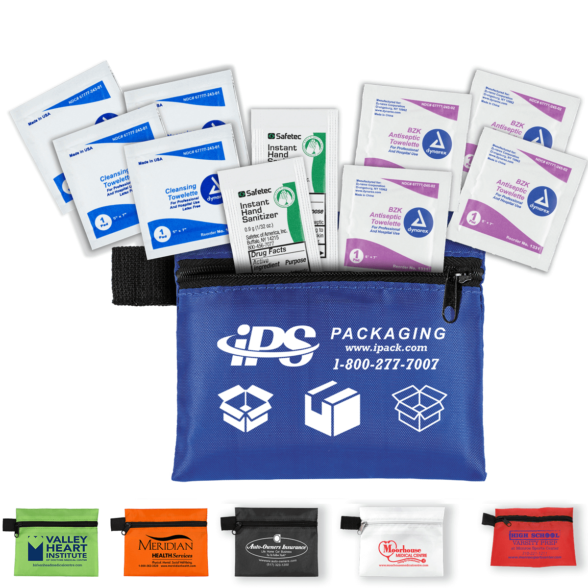 10 Piece Healthy Antiseptic Pack in Zipper Pouch - These heathly antispectic packs include hand sanitizer and antiseptic cleaning towelettes in a zippered pouch with your custom printed logo.