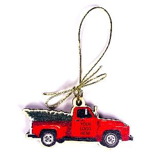 Birch Wood Vintage Red Truck with Christmas Tree Ornament - Have your logo printed on these Ornaments featuring a Vintage Red Trucks carrying a Christmas tree.