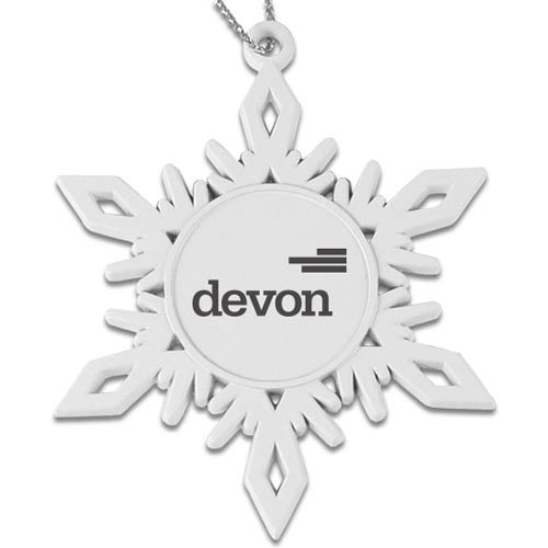 White Finish Snowflake Ornament - Handcrafted snowflake ornaments with white finish. Laser engraving adds to the elegance of this Christmas/Holiday keepsake. Comes in black gift box.