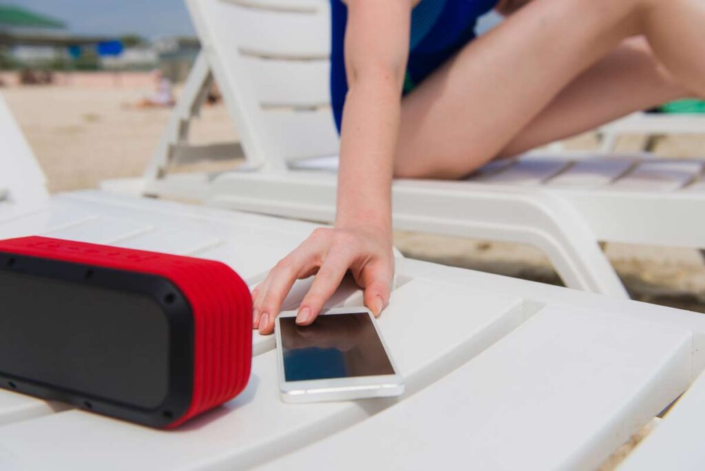 Bluetooth speaker at the beach