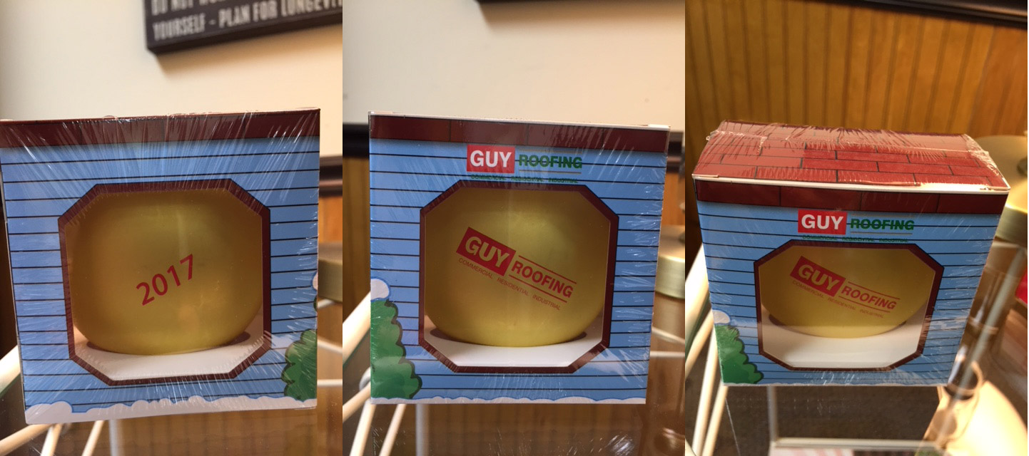 Guy Roofing Custom Christmas Ornaments with Custom Packaging